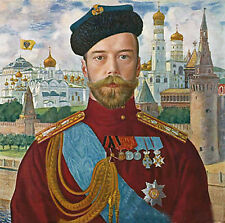 Stunning No framed Oil painting male portrait Tsar Nicholas in cityscape canvas