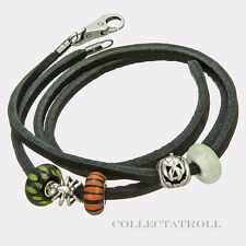 "Authentic TrollBeads Halloween Leather Black 16.1"" Bracelet Trollbead  P50672"