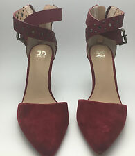 Joe's JEANS Betty Red Suede With Leather Straps Women's HEELS 8 - READ LISTING