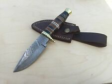 Custom Hand Made Full Tang Folded Steel Damascus Hunting Knife and Sheath