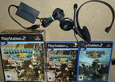 SOCOM US NAVY SEALS 1 & 2 GAMES + OFFICIAL USB HEADSET - SONY PLAYSTATION 2 PS2