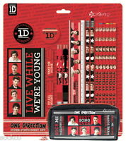 Official 1D One Direction Bumper Stationery & Cuboid Pencil Case Set School