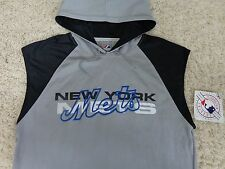 New York Mets HOODIE Shirt Sleeve less Very Rare Sewn Logo By Majestic  ( L )