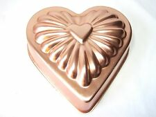 "Vintage Copper Valentine Heart Jelly Jello Mold Mould Dessert Tin 7"" Mint"