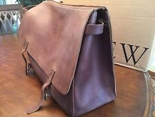 J.CREW  Artisan Rustic  Brown  Burnished Leather  XL  Messenger Bag / Postal Bag