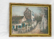 "Vintage ""Lapin Agile in Spring/Summer"" Print by Maurice Utrillo V.Signed/Framed"