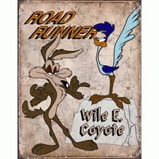 Officially Licensed Warner Bros. Road Runner & WIle E. Coyote Vintage Metal Sign
