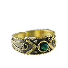 24k Gold Plated 2-tone Sterling Silver Byzantine Adjustable Ring w/ Green