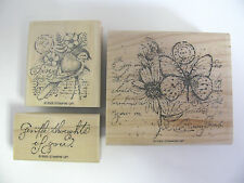 GARDEN COLLAGE Stampin' Up 2005 Limited Edition rubber stamp set,wood mount,bird