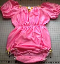Pink Lockable Sissy ABDL Adult Baby Satin Open Crotch Romper
