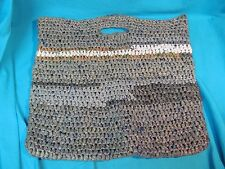 16 x 19 HAND MADE UPCYCLE RECYCLED WOVEN STRIPED PLASTIC BAG PURSE SHOPPING TOTE