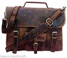 New Men Buffalo Leather Briefcase Laptop Messenger Bag Shoulder Genuine Handbag