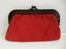 VTG Leather Handbag Purse Clutch Burnt Orange Made in Italy Plastic Closure