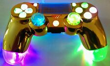 Sony PS4 Custom Wireless Controller-LED MOD-GOLD&Clear+Multi Color Slow LED