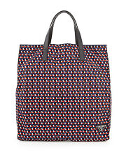100% AUTHENTIC NEW PRADA MEN OCTAGON PRINT NYLON BLUE/RED TOTE BAG