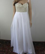 La Femme Pearl Crystal Embellished Bustier Wedding Prom Dress Gown Size 4 NWT