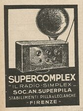 Z2211 Radio Supercomplex - SUPERPILA - Pubblicità del 1927 - Vintage advertising