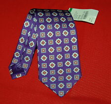 "NWT BRIONI mens 100% silk purple pattern tie $200 60"" ITALY scratches"