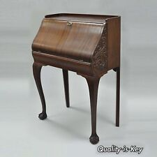 Antique Victorian One Drawer Mahogany Ball and Claw Drop Front Secretary Desk