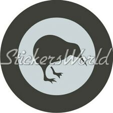 "NEW ZEALAND AirForce RNZAF LowVis Aircraft Roundel 100mm(4"") Sticker Decal (Grey"