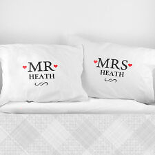 Personalised Mr and Mrs Pillow Case Perfect For Wedding Couple Present Gift