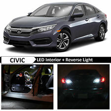 2013-2016 Honda Civic White Interior & Reverse LED Lights Package Kit + TOOL