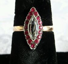 Victorian 9ct Rose Gold Marquise Paste Ruby & Paste Diamond,  Ring size P 1/2