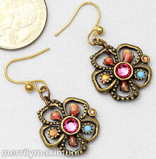 Chico's Signed Earrings Gold Tone Flower Charm Pink Turquoise Enamel & Crystals