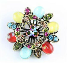 NEW RUCINNI SWAROVSKI CRYSTALS MULTICOLOR FLORAL PIN BROOCH