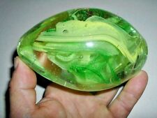 BEAUTIFUL GLASS PAPER WEIGHT WITH GREEN DESIGNS  - egg shaped