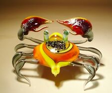 Blown Glass Figurine Art Sea Creature Orange & Yellow CRAB with Red Claws