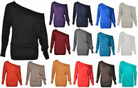 WOMENS OFF SHOULDER LADIES BAGGY BATWING LONG SLEEVE SLOUCH DRESS PLUS TOP SIZE