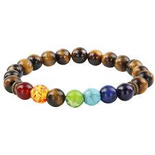 7 Chakra Bead Healing Reiki Tiger's Eye Stone Energy Prayer Beaded Bracelet 8mm