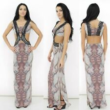 Chinyere Khloe Silk Maxi Party Dress Elaborate Embroidery Open Sides & Midriff 4