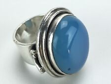 Womens 925 Sterling Silver Blue Agate? Chalcedony? Onyx Ring Size 7.5