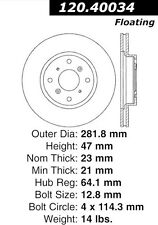 Disc Brake Rotor-High Performance Slotted Centric fits 93-96 Honda Prelude