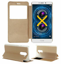 ACM-S VIEW INTERACTIVE WINDOW GOLDEN LEATHER FLIP CASE for HONOR 6X FULL COVER