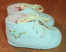 Size 2M Lace Up High Top Crib Shoes White w/ Pastel Flower Embroidery Trim