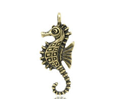 100 Bronze Tone Sea Horse Charm Pendants 29x11mm