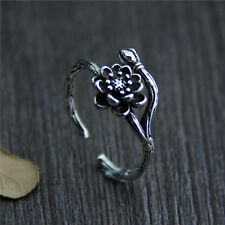 Vintage 925 Sterling Silver Flower Vine Branch Opening Antique Plain Wrap Ring