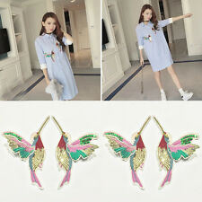 Vintage 2pcs Wing Birds Embroidered/Sequin Iron On Clothes Applique Patch Crafts