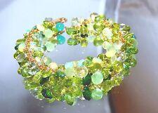 14k Gold GF Peridot Green Amethyst Opal Briolette Gemstone Cluster Bracelet