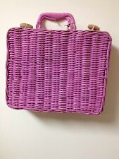 Vintage 70s Hippie Boho Box Purse Pink Wicker Dolly Square Basket Lunch