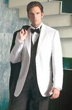 42 L Very Nice Solid White 2 Button Tuxedo Tux Cruise Masonic Dinner Jacket D.J.