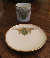 (Fontanille & Marraud) F.M. Limoges France Small Green Cherub Cup & Dish