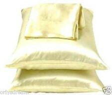"""KING -TWO SOFT """"SILKY"""" SATIN / SATEEN PILLOW CASE / COVER - BEIGE COLOR (1 PAIR)"""