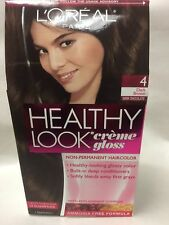 L'Oreal Healthy Look Creme Gloss Hair Color Dark Brown / Dark Chocolate #4 NEW