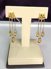 14 K YELLOW GOLD DROP EARRING WITH  YELLOW CITRINE  6.22 CTS. CE4602