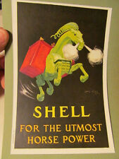 VINTAGE 1920s ART MINIATURE POSTER  SHELL GAS Utmost Horse Power Jean D'Ylen