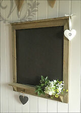 Chalk Board Wall Vintage Shabby Chic Message kitchen Notice Rustic Hooks Shelf